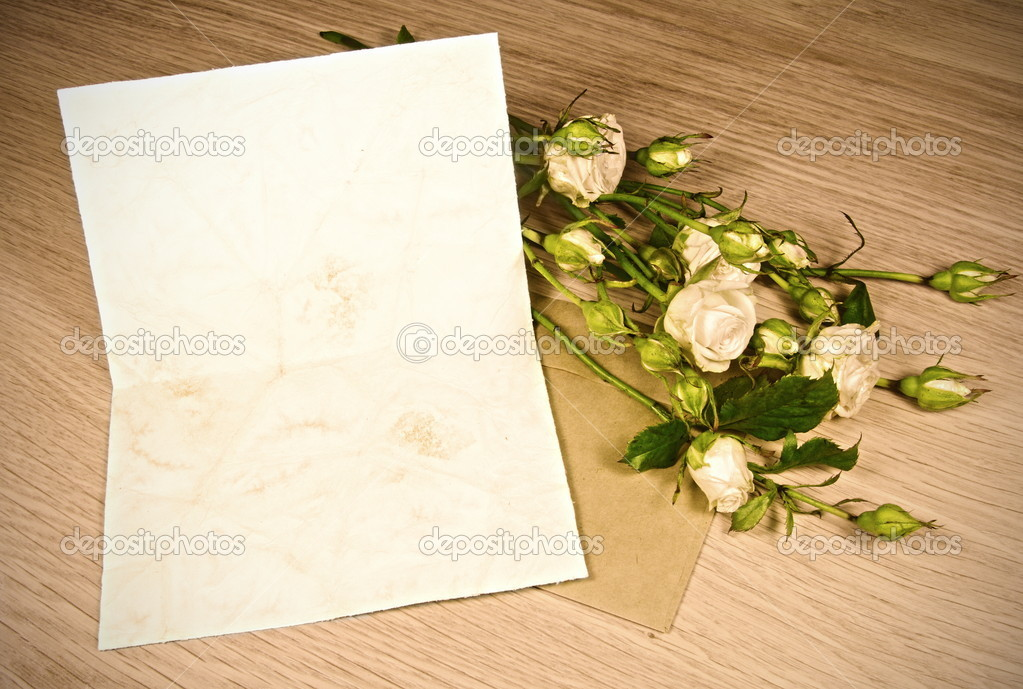 Blank Retro Paper for Love Letter with Roses Sepia Toned  Stock Photo #6696238