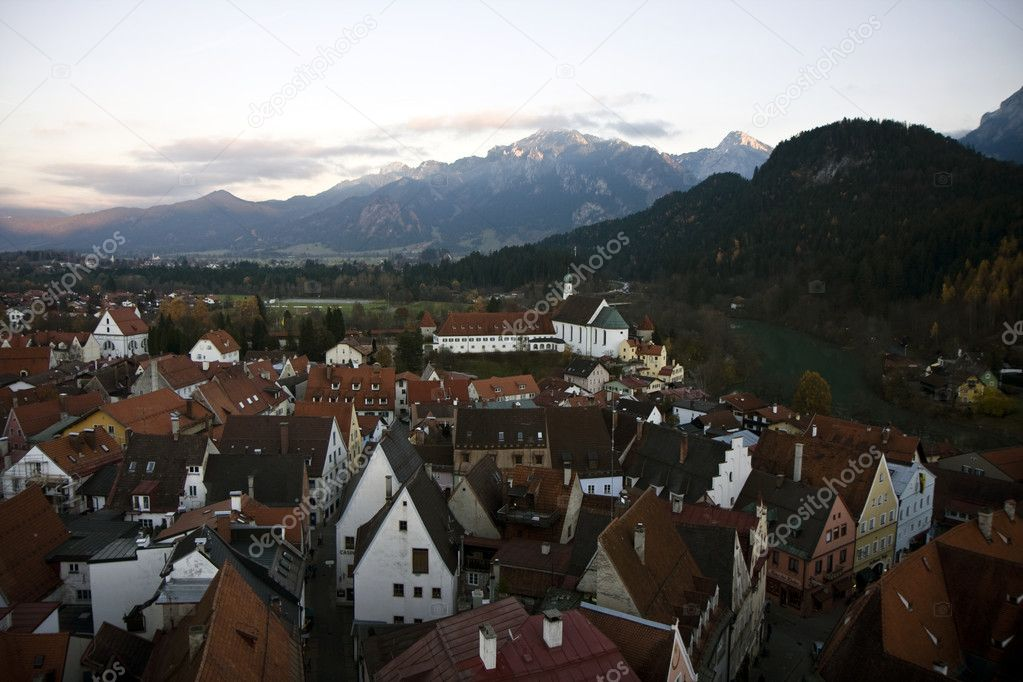 Aerial view of the city Fussen in Bavaria, Germany  Stock Photo #5591814