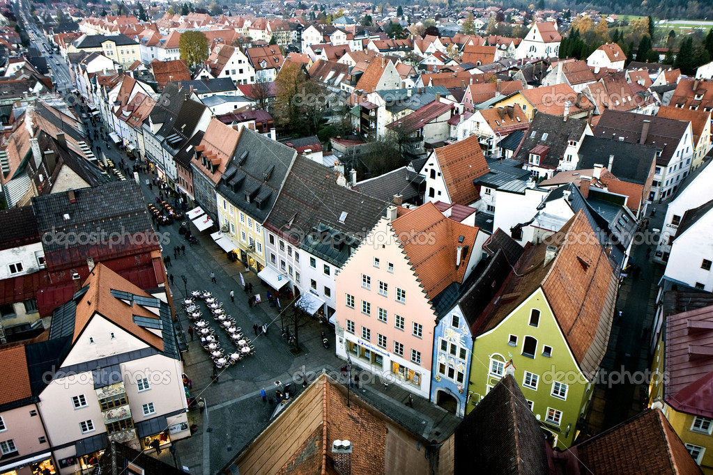 Aerial view of the city Fussen in Bavaria, Germany — Stock Photo #5591895