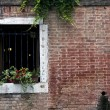 Brick wall and a window in Venice — Stock Photo