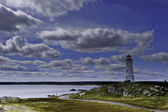 Lighthouse near Louisbourg, Nova Scotia, Canada — Stock Photo