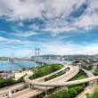 Tsing Ma Bridge in Hong Kong - Stock Photo