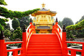 Oriental golden pavilion of Chi Lin Nunnery and Chinese garden, — Stock Photo
