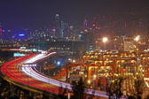 Traffic in Hong Kong at night — Стоковое фото