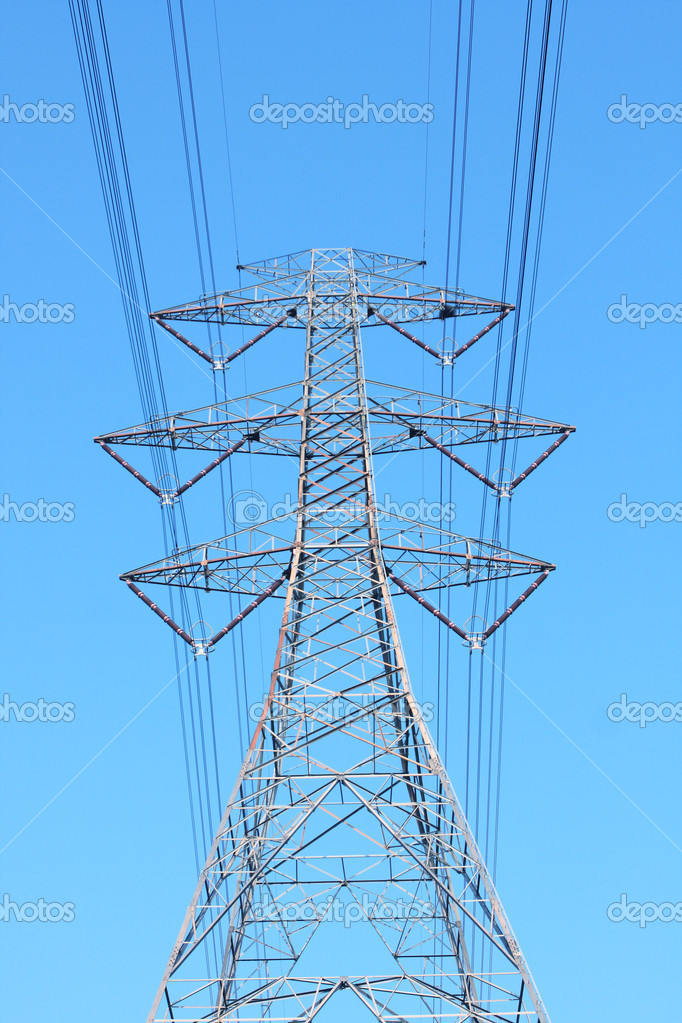 Transmission tower with red toned   Stock Photo #5533489