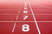 Starting lane of running track — Stock Photo