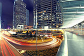 Modern Urban City with Freeway Traffic at Night, hong kong — Stock Photo
