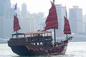 Sailboat in Hong Kong harbor — Stock Photo