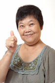 Happy Asian young woman give you an excellent gesture with frien — Stock Photo