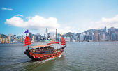 önemsiz tekne turist hong kong victoria harbour — Stok fotoğraf