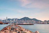 Hong kong and breakwater — Stock Photo