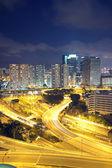 Tráfego em hong kong à noite — Fotografia Stock