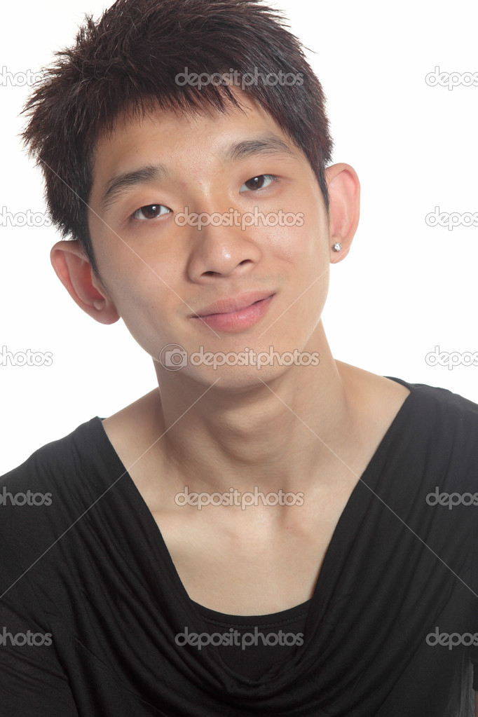 Closeup portrait of young man of Asian with copyspace on white.  — Stock Photo #6141851