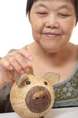 Woman putting coins in small piggy bank. Selective focus, Copy s — Stock Photo