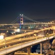 Night scenes of highway Bridge in Hong Kong. - Stock Photo