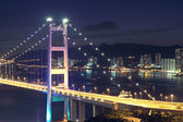 Traffic highway bridge at night — Stock Photo