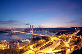 Beautiful night scenes of Tsing Ma Bridge in Hong Kong. — Stock Photo