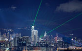 Beautiful laser night show scenery of Hong Kong Victoria Harbor — Stock Photo