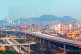 Hong Kong Bridge of transportation ,container pier. — Stock Photo