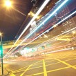 Traffic in finance urban at night — Stockfoto