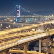 Stock Photo: Highway and bridge at night