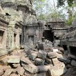 Roots over Angkor Wat ruins - Stock Photo
