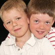 Stock Photo: Close up of two adorable brothers