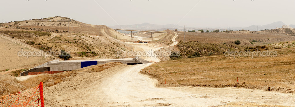 Countryside View of a High Speed Railway Line Construction Site, near Turre, between Murcia and Almeria, Andalusia, Spain — Stock Photo #5748883