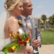 Bride and Groom in the sunshine - Photo
