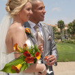 Bride and Groom in the sunshine - Stock Photo
