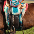 Traditional Mongolian horse saddle - Stock Photo