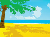 Summer background. A beach with the sea and a palm tree — Stock Vector