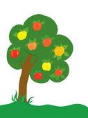 Pozadí. jabloň s barvu jablka na trávníku — Stock vektor