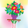 Background. A bouquet with colors in a vase — Stock Vector