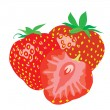 Background. Three ripe juicy strawberries. — Stock Vector