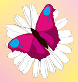 The beautiful lilac butterfly on a camomile. — Stock Vector