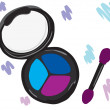 Cosmetic eye shadow with a brush. — Stok Vektör