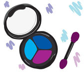 Cosmetic eye shadow with a brush. — Vector de stock