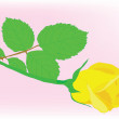 Fine yellow rose with leaves. — Stock Vector