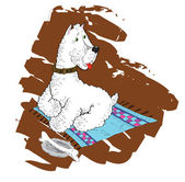 White terrier on a laying with a stone in a bowl. — Stock Vector