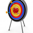 Heart on a target with an darts isolated on white background. 3D — Stock Photo