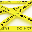 Police line do not cross. 3D - Stock Photo