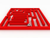 Soccer-ball in the labyrinth isolated on white background. 3D — Stock Photo