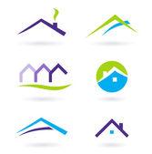 λογότυπο και εικονίδια διάνυσμα ακίνητων περιουσιών - μοβ, πράσινο, πορτοκαλί — Διανυσματικό Αρχείο