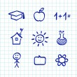 Royalty-Free Stock Vector Image: School doodle drawings and icons - isolated on white paper grid
