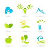Nature, landscape, and organic Icons and Symbols - green — Stock Vector