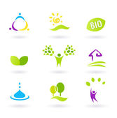 Ecology & nature friendly BIO icons set - green, yellow, — Stock Vector
