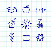 School doodle drawings and icons - isolated on white paper grid — Stock Vector