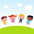 Happy group of multicultural kids jumping on summer meadow — Stock Vector