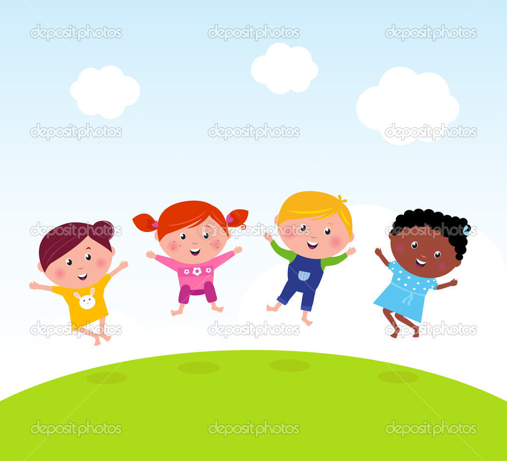 Happy group of multicultural kids jumping on summer meadow stock